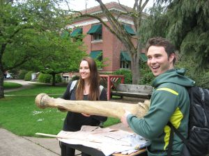 students and elephant femur