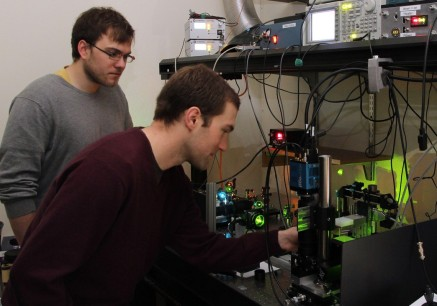 Matt Jemielita and Mike Taormina at our home-built light sheet fluorescence microscope.