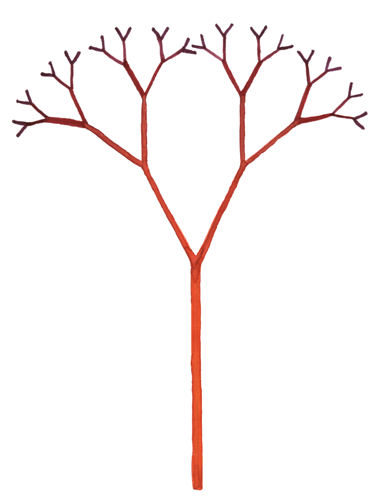Branched fractal tree, watercolor